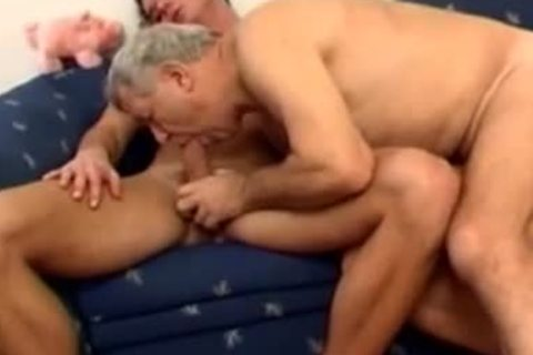 old daddy With Younger poke On bed